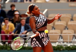 Serena Williams hits a return.