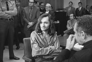 Manson is seen here in court in 1970, during proceedings in the murder case of musician Gary Hinman, for which he was sentenced to life in prison
