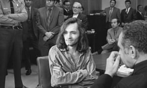 Charles Manson, aged 35, during a courtroom press conference in 1970.