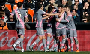 Rayo Vallecano midfielder Jozabed celebrates opening the scoring against Valencia after just 15 minutes, leading to an uncomfortable afternoon for Gary Neville.
