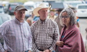 Arkansas Rep. Bruce Westerman, Montana Representative Greg Gianforte and Montana's US House of Representatives candidate Kathleen Williams at the 100th Annual Crow Fair Celebration .