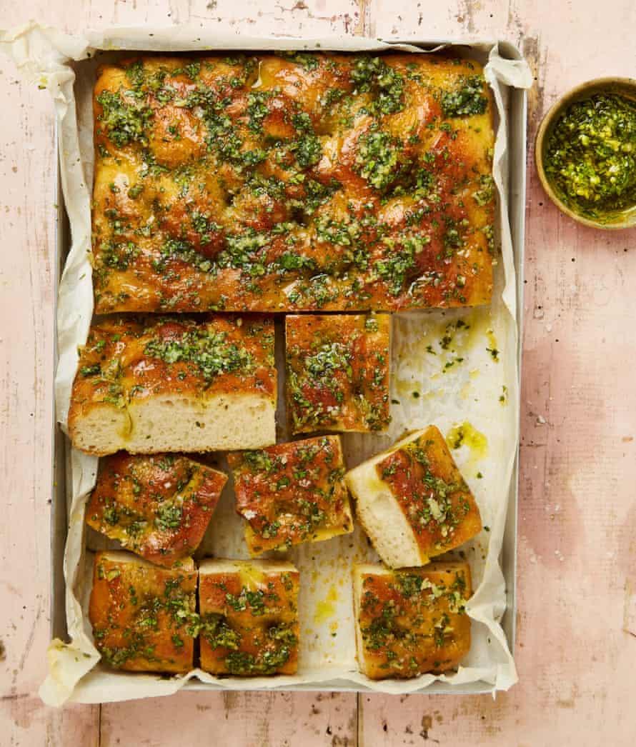 Meera Sodha's 10-clove garlic focaccia.