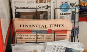 The Financial Times on a news stand