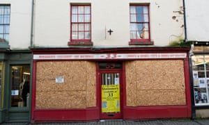A boarded-up shop in Herefordshire