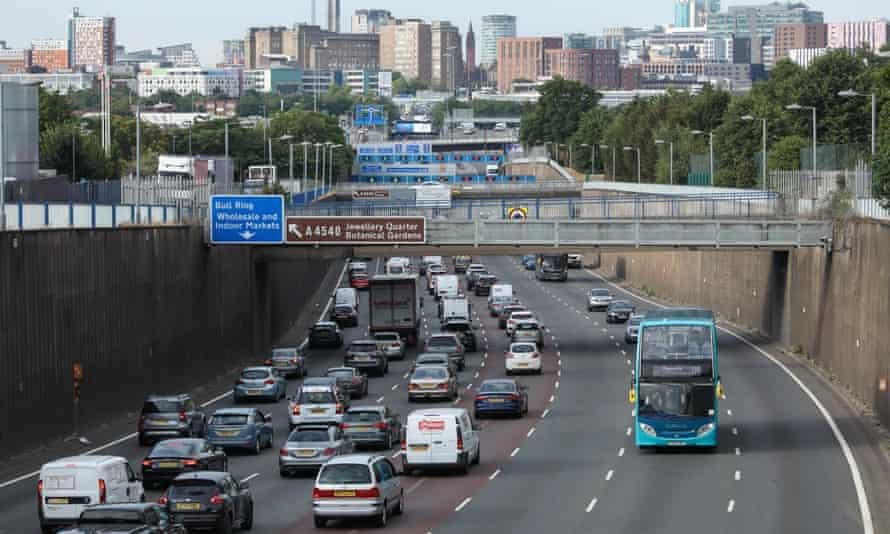 Traffic heading into Birmingham city centre