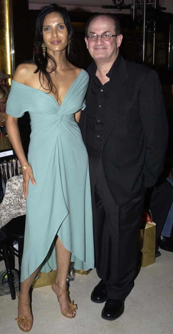 Author Salman Rushdie and his wife Padma Lakshmi during the London Fashion Week Spring/Summer 2005 show by designer Gharani Strok, held at Titanic, Brewer Street in central London.