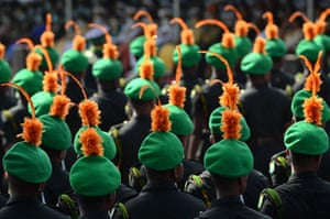 Colombo, Sri Lanka Military personnel parade during Sri Lanka's 73rd Independence Day celebrations