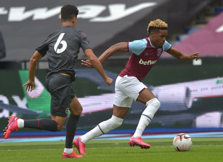 Grady Diangana, pictured in pre-season action for West Ham against Brentford, scored eight goals in 30 appearances for West Brom.