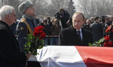 Vladimir Putin at Lech Kaczyński's funeral.
