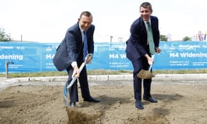 Then prime minister Tony Abbott with NSW premier Mike Baird mark the beginning of the Westconnex construction in March 2015.