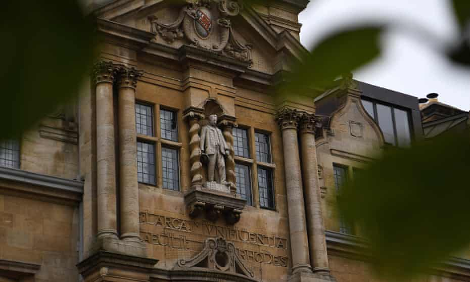 The Cecil Rhodes statue on the facade of Oriel College in Oxford.