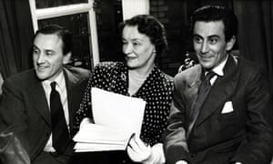Pioneer … John Whiting, right, with CE Webber and Enid Bagnold at the Arts theatre in 1951.