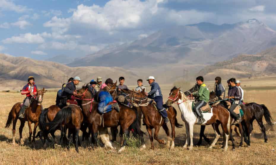 Kokpar players in Aksu-Zhabagly, Kazakhstan.