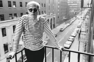 Andy Warhol on the fire escape of the Factory, 231 East 47th Street