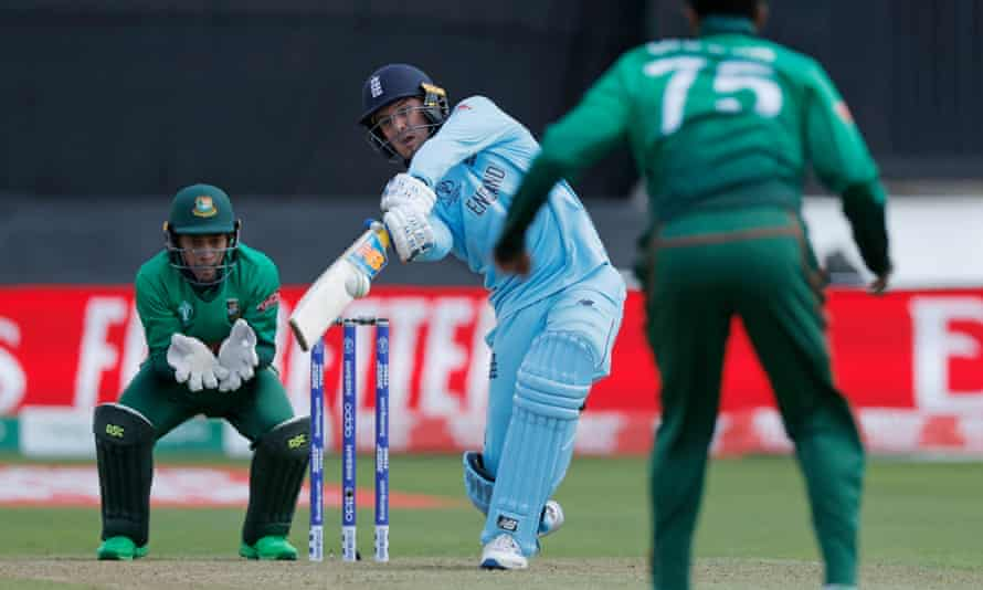 England's Jason Roy launches into another hefty shot against Bangladesh on his way to a sparkling 153 runs in Cardiff.