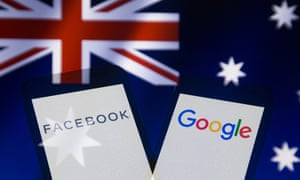 Stock image of the logos of Facebook and Google and the flag of Australia