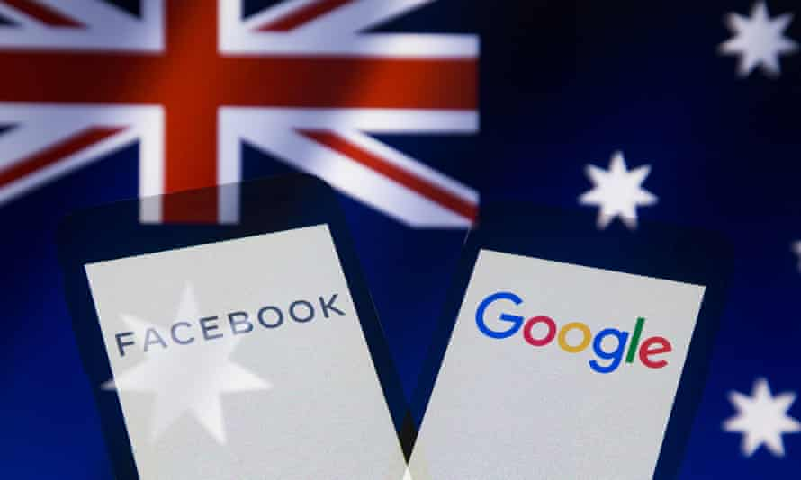 Illustration photo – logos of Facebook and Google on smartphone screen backdropped by flag of Australia
