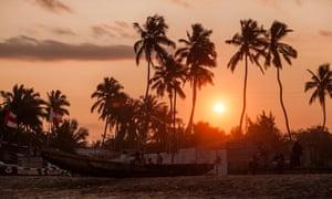 Sunset at Kokrobite beach, Ghana.