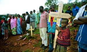 The funeral of a woman who died of Aids on the outskirts of Kigali, Rwanda.