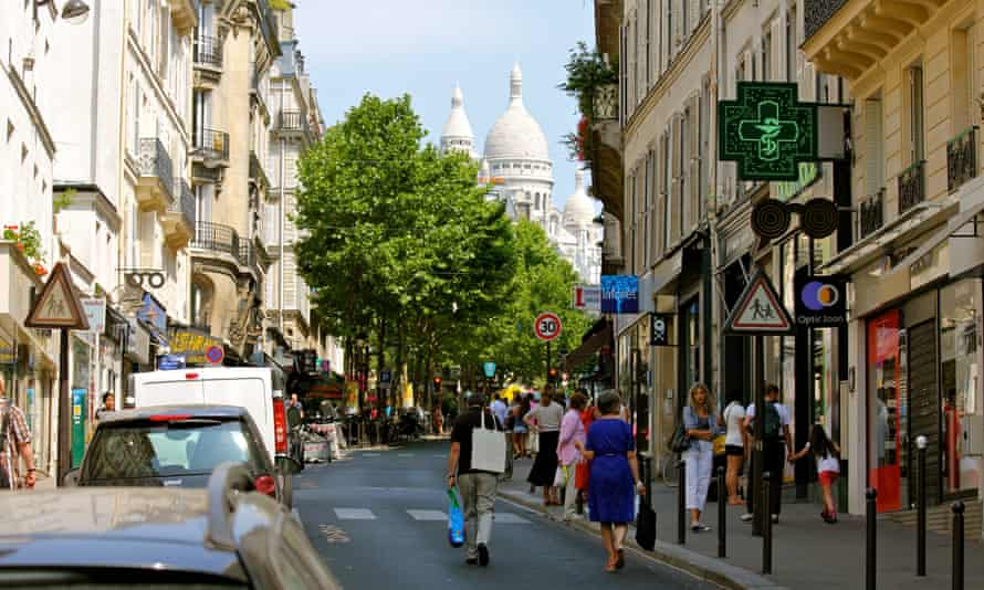 Rue des Martys, Paris, looking towards the Sacré-Coeur basilica