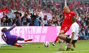 Bayern Munich's Arjen Robben scores their fifth goal.
