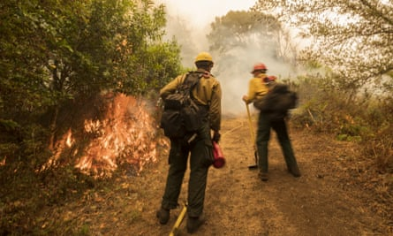 Firefighters from Vandenberg air force base monitor a controlled burn to help slow the Dolan Fire at Limekiln State Park in Big Sur, California, on Friday.