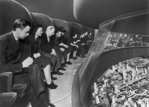 Visitors to General Motors' Futurama exhibitat the 1939 World's Fair,