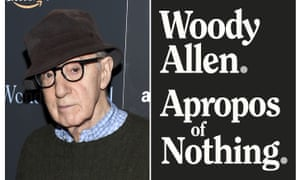 Woody Allen alongside the cover of his autobiography Apropos of Nothing.