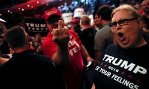 Supporters of Donald Trump scream and gesture at the media at a campaign rally in Cincinnati, in 2016.