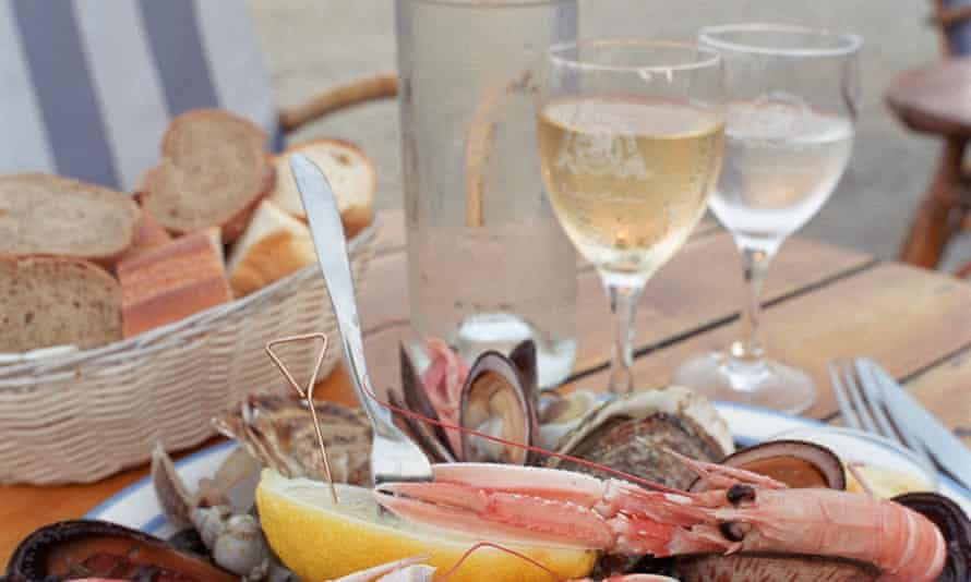 Plate with seafood and wine