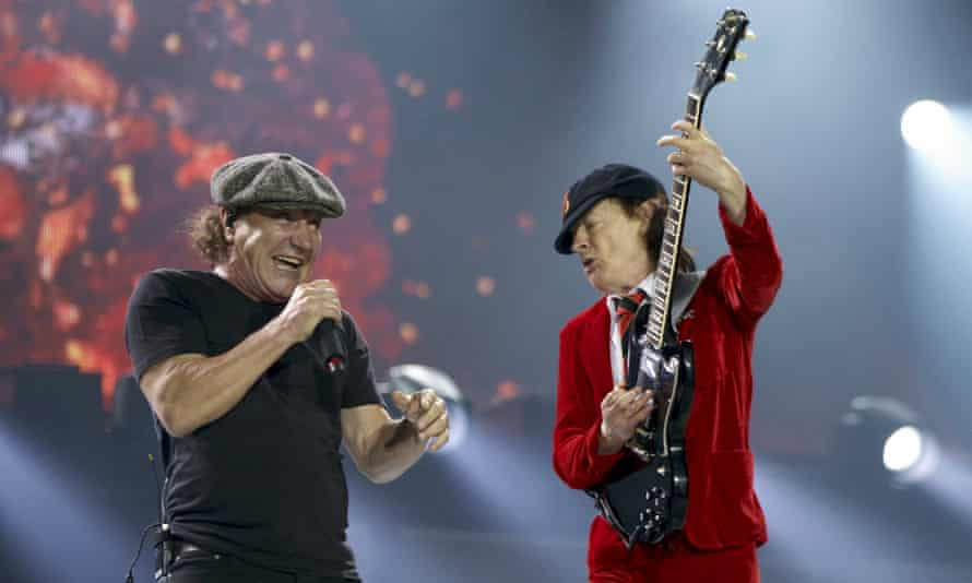 AC/DC lead singer Brian Johnson and lead guitarist Angus Young