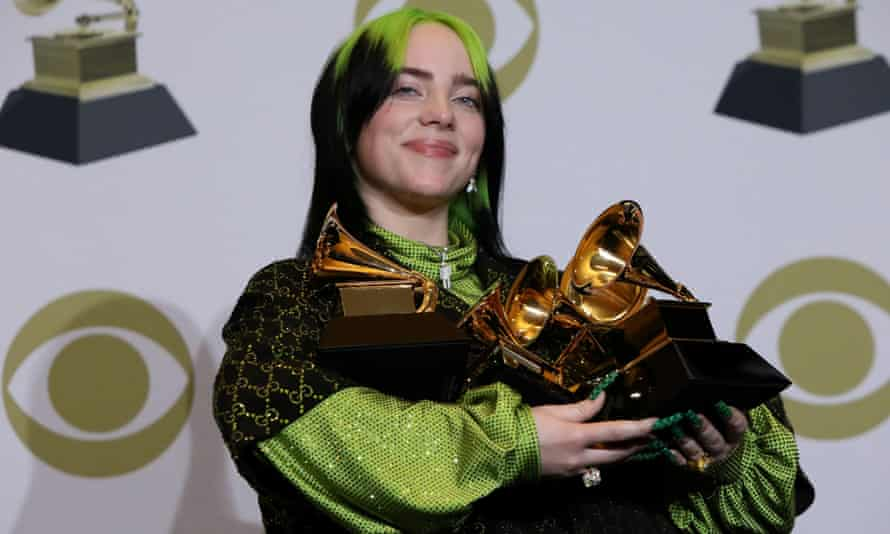 Billie Eilish poses with her awards at the 2020 Grammys
