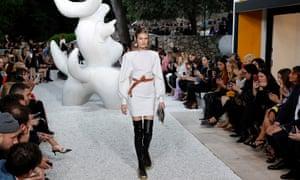 A model presents a creation by designer Nicolas Ghesquière for Louis Vuitton