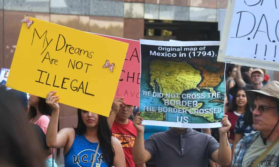 Young immigrants and their supporters rally in support of Daca in Los Angeles on 1 September.
