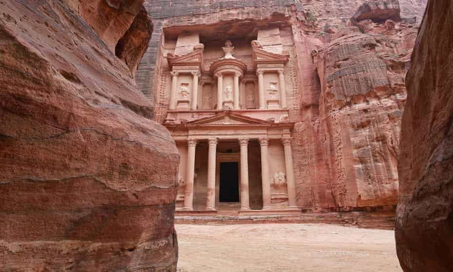 The empty treasury site in the ancient city of Petra, photographed on 17 March.