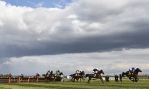 T. J. O'Brien riding Thyme Hill (second right) races to win the Ryanair Stayers Hurdle.