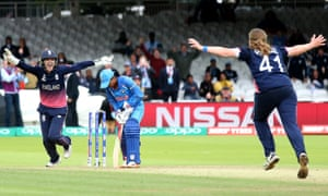 Sarah Taylor rushes to congratulate Anya Shrubsole after she claimed the last Indian wicket of Rajeshwari Gayakwad to win the Women's World Cup for England.