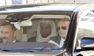 Saud al-Mojeb leaves the courthouse after a meeting with Istanbul's chief public prosecutor.