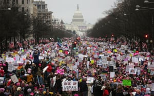 Thousands of protesters gather during the Women's March on Washington on 21 January, in protest at Donald Trump the day after his inauguration