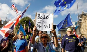 Anti-Brexit activists and demonstrators opposing the British government's actions in relation to the handling of Brexit protest outside the Houses of Parliament