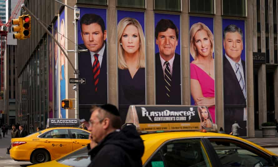 Advertisements featuring Fox News personalities on 13 March 2019 in New York City.