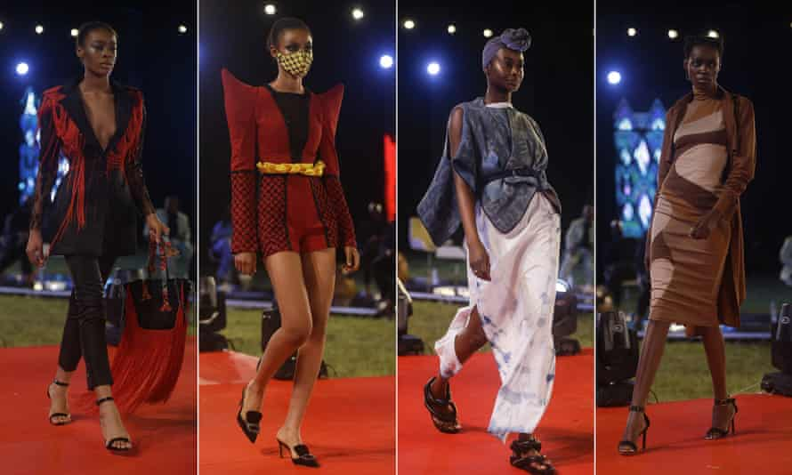 Models display designs by Weiz Dhurm Franklyn (far left and far right), DNA by Iconic Invanity (second left) and Bibi (third left) during the Arise fashion week in Lagos, Nigeria.