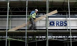 Scaffolder working at an RBS bank branch