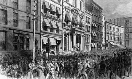 A panicked crowd after the closing of the New York stock exchange, 20 September 1873.