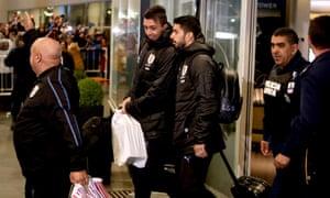 Uruguay's forward Luis Suarez and goalkeeper Fernando Muslera
