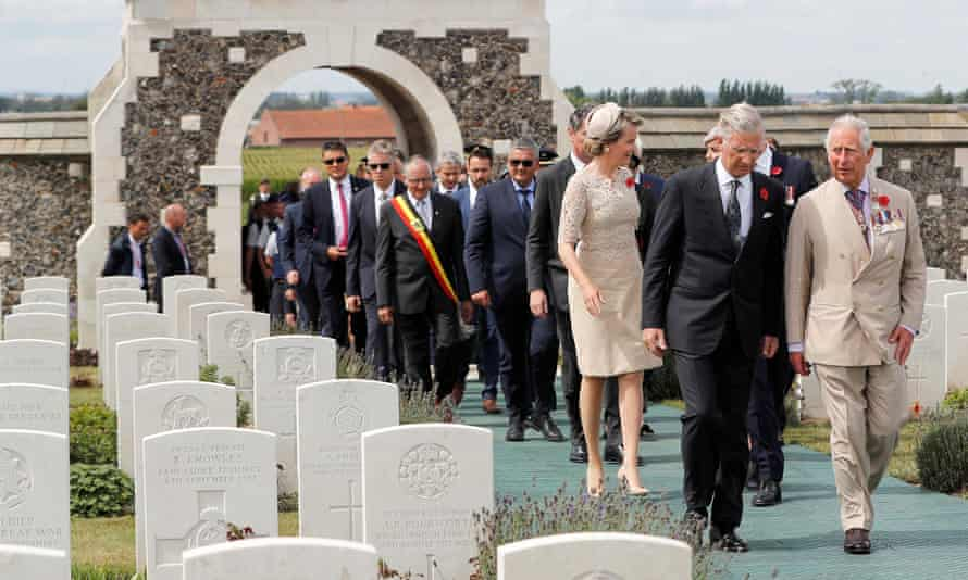 Prince Charles and Belgium's King Philippe and Queen Mathilde lead those arriving at Tyne Cot cemetery