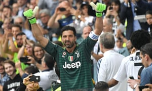 Buffon gestures to Juventus fans after being substituted and receiving a huge ovation during the game against Verona.