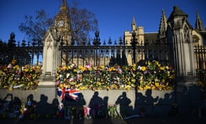 Floral tributes at the Houses of Parliament after the terrorist attack on 22 March
