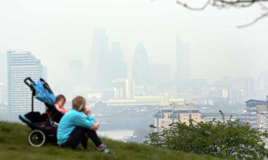 Pollution hanging over London, seen from Greenwich.
