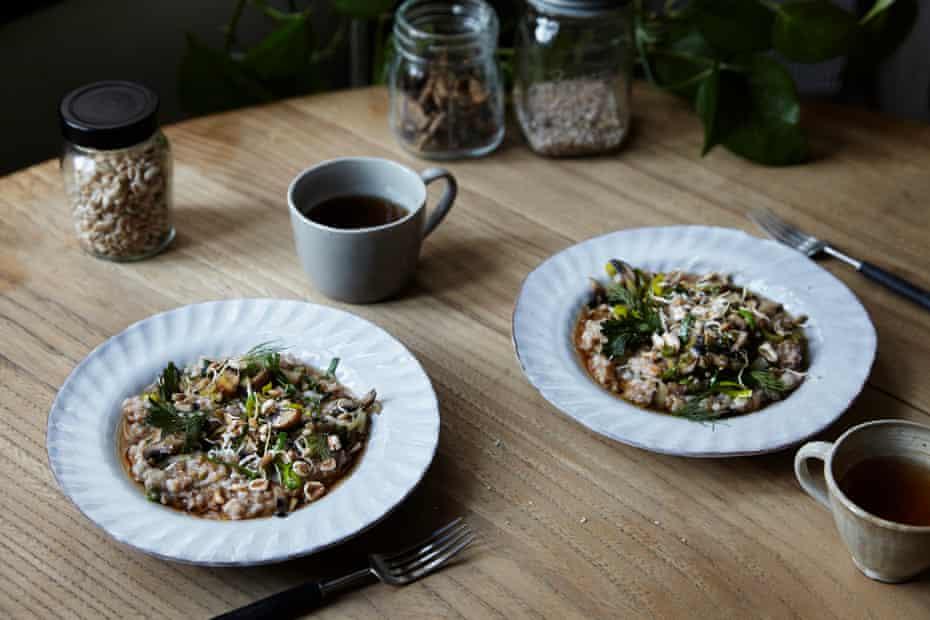 A sort of root-to-fruit risotto: Rye porridge with mushroom, artichoke and celeriac leaf salt.